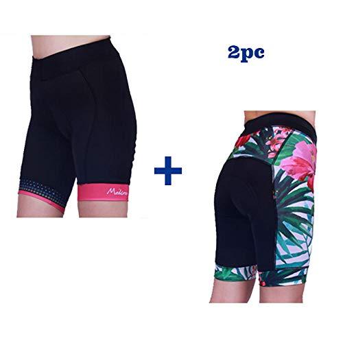 LIKEJJ Womens Bike Shorts ,Outdoor Mountain Road Bike Women's Cycling Shorts Non-Slip Silicone Pants pad-A+C_S