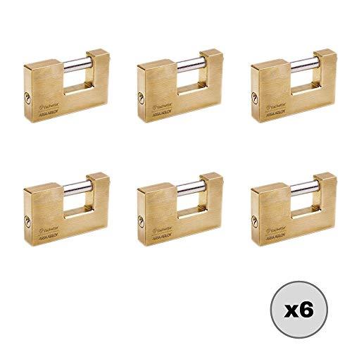 Set di 6 lucchetti di sicurezza monoblocco in ottone con apertura di 70 mm