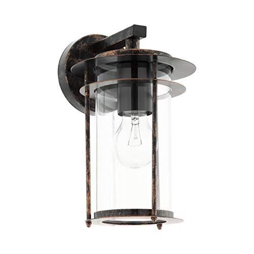 EGLO Außen-Wandlampe Valdeo, 1 flammige Außenleuchte, Wandleuchte aus verzinktem Stahl, Farbe: Kupferfarben-antik, Glas: klar, Fassung: E27, IP44