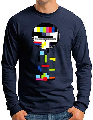 OM3® Testbild-Tetris Langarm Shirt - Herren - Video Game Analog Fernseher TV - Navy, M