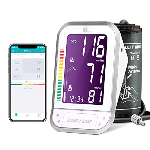 1byone Bluetooth Blood Pressure Monitor with Cuff for Home Use