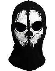 TRIXES Maschera Fantasma - Passamontagna da Uomo - Maschera Viso - Maschera Orrore - Maschera per Sci Travestimento - Cosplay - Airsoft Motociclismo Paintball - Taglia Unica - Colore Nero