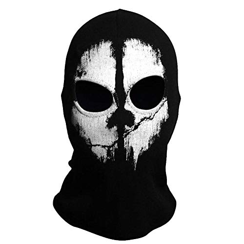 TRIXES Ghost Mask- Balaclava para Hombres - Máscara de Cara Completa - Máscaras de Terror - Máscaras de esquí para Traje de Vestir Cosplay - Airsoft Motorcycling Paintball - Un tamaño- Negro