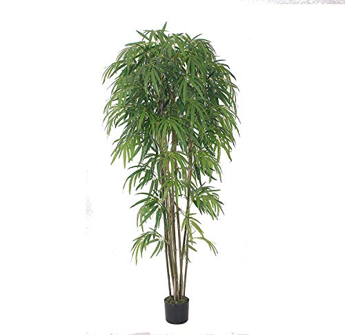 AMERIQUE Gorgeous 7' Bamboo Tree Artificial Silk Plant with UV Protection, with Nursery Plastic Pot, Feel Real Technology, Super Quality, 7 feet, Emerald Green