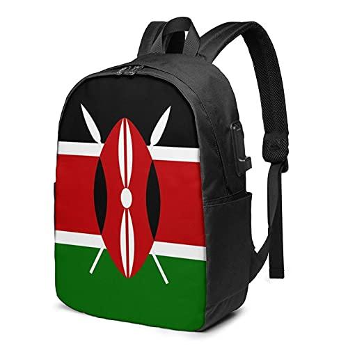 XCNGG Kenia Flag Travel Laptop Mochila, Mochila con Puerto de Carga USB, para Hombres y Mujeres, se Adapta a 17 Pulgadas
