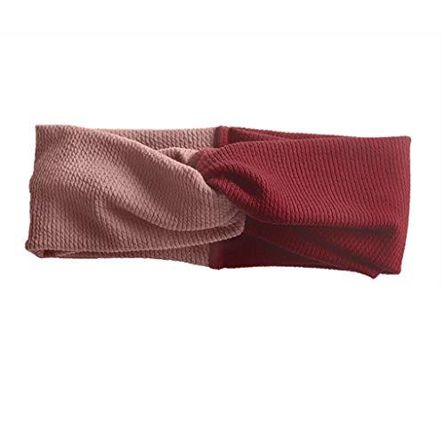 Brede rand persoonlijkheid zoete Sen vrouwelijke haarband ▏ eenvoudige non-slip volwassen wilde kort haar hoofdtooi Haarband met hoofdband (Color : Pink+red)