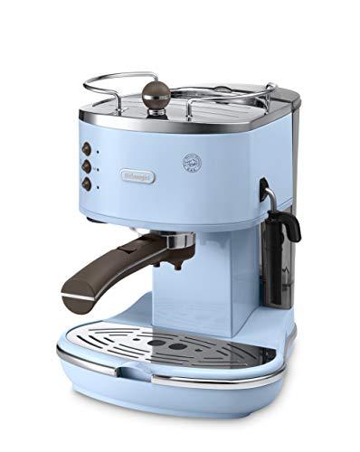De'Longhi Icona Vintage Espresso Siebträgermaschine KBOV2001.AZ - mit professioneller Milchaufschäumdüse, 15 bar, 1,4 l, auch für Pads geeignet, Edelstahl in Retro Look mit Chrom-Details, blau