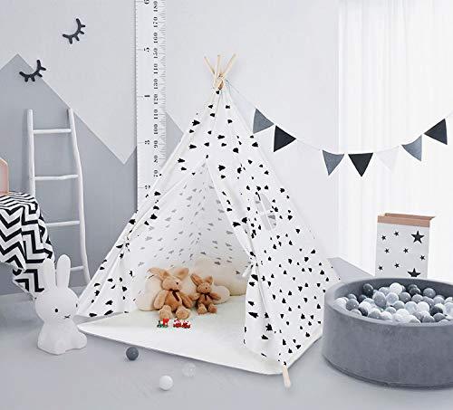 Tamia-Home Zelt Tipi Kinderzelt Spielzelt für Innen mit Baumwollsegeltuch und Holzstangen (Tannenbaum)
