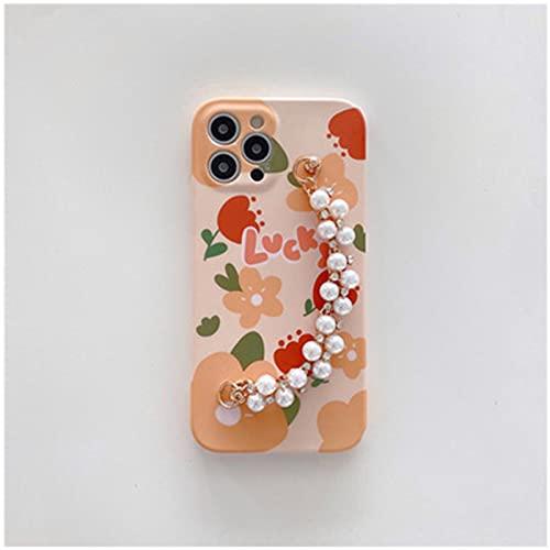 NZAUA Cáscara Protectora del teléfono móvil, Cadena de Perlas de Flores, Concha Suave Anti-Gota y a Prueba de Golpes, Adecuada para la Funda de teléfono móvil de Moda para iPhone XR