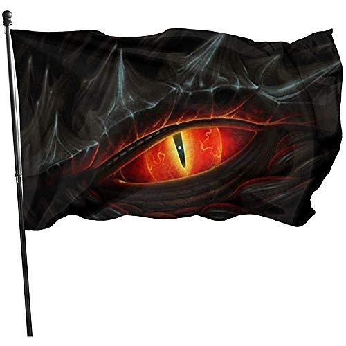 ALLdelete# Flags Auge des schwarzen Drachen dauerhaft verblassen beständige dekorative Flaggen Flagge mit Ösen Polyester Deluxe Outdoor Banner für alle Jahreszeiten Urlaub 3 X 5 ft