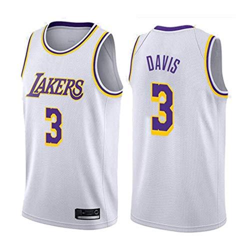 BDBY Baloncesto Jersey Lakers3# Davis Bordado Jersey de Moda, Chicos jóvenes Cuello Redondo Sin Mangas de Chaleco Deportivo Transpirable, Regalo para fanáticos White-L