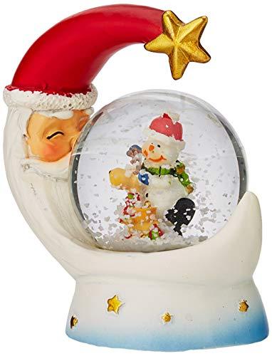 SHATCHI Kleine Weihnachts-Schneekugel aus Glas mit Schneemann und Weihnachtsmann-Mond, einzigartiges Design, Weihnachtsdekoration, Geschenk, Rot/Weiß, One Size