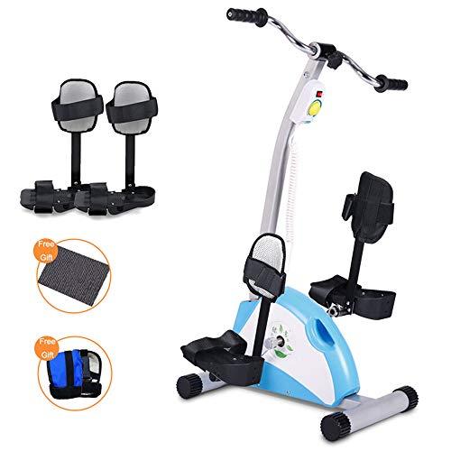 JFJL Mini Bicicleta Estática Motorizada para Ejercitar Las Piernas Y El Brazo con Soporte para Piernas, Fitness Mini Bicicleta Estática Eléctrica Motorizada/Ejercitador De Pedal para Personas Mayores