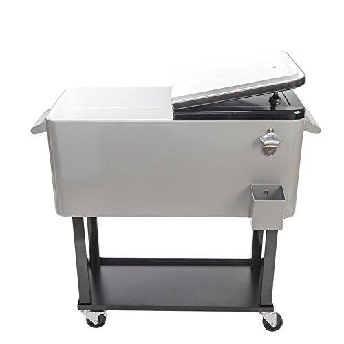 80 Quart Rolling Cart on Wheels Cooler Ice Chest, Portable Party Bar Cold Drink Cooler Beverage Cart Tub for Patio Pool Party, Backyard Cooler Trolley with Shelf, Bottle Opener (Grey)