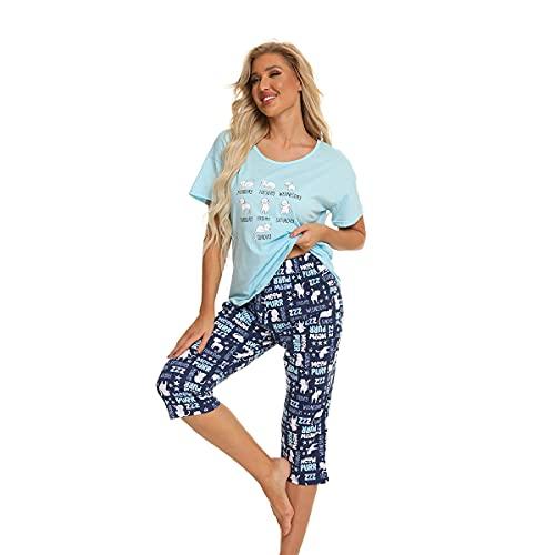 Misscoo Ensemble de Pyjama Femme Coton Manche Courte Vêtements de Nuit Fille Sleepwear Idéal pour Printemps et été