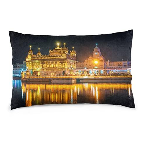 Fundas de Almohada 16X24 Pulgadas Awsome Sikh Golden Temple At Night Amritsar India Throw Pillow Covers Sofá Coche Funda de cojín Decorativo para el hogar 40X60CM