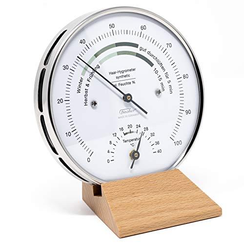 Fischer 122.01HT-02 - Wohnklima-Hygrometer u. Raum-Thermometer - 103mm Edelstahl-Luftfeuchtigkeitsmesser Made in Germany