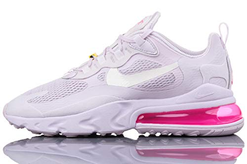 Nike Mujeres Air MAX 270 React Running Trainers CZ0374 Sneakers Zapatos (UK 8.5 US 11 EU 43, Light Violet Sail Yellow 500)