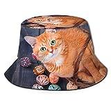 Mesllings Sombrero de sol gato en una cesta en huevos de Pascua tapa de cubo protección UV sombrero de pescador plegable ligero transpirable al aire libre gorra de viaje negro 2020 FW