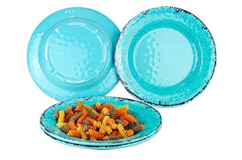 Gimex 4 teiliges Geschirr Set Tiefe Teller Stone Line Sand, Azur oder Opale Campinggeschirr mit Antislip Antirutsch Melamin (Opale)