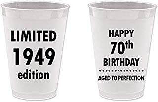 Mandeville Party Company, 10 count Frost Flex Plastic Cups, Happy 70th Birthday - Limited 1949 Edition, Aged to Perfection