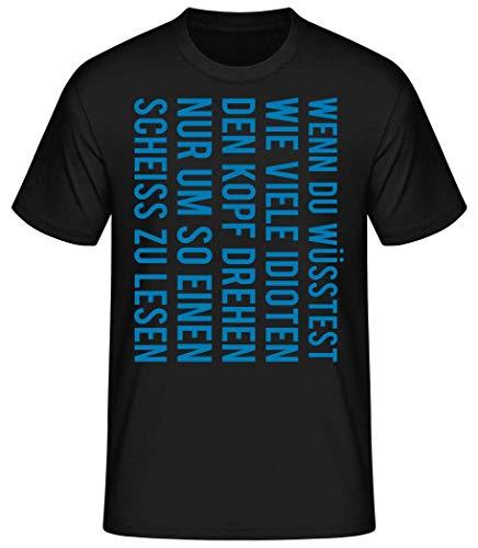 Shirtinator Wie viele Idioten drehen den Kopf | Tolles Geschenk Idioten T-Shirt für Herren | Witziges T-Shirt Original (Schwarz, XL)