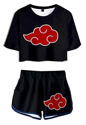 JOAYIN Damen Naruto T-Shirt und Shorts 3D Druck Sets Akatsuki Kakashi Uchiha Sommer Freizeit Streetwear Kurze SportBekleidung(S)