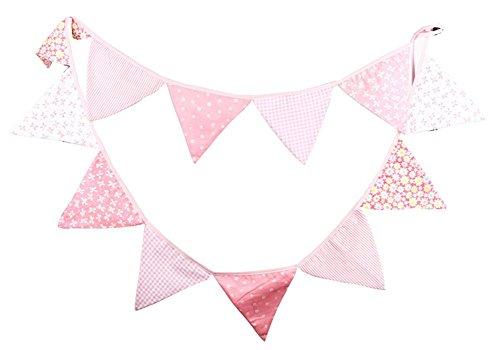 Outflower vintage extérieur anniversaire Guirlande 12fanions drapeaux de tissu à motif floral Décor Bannière Rose 3.2m
