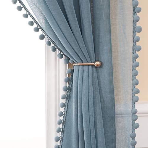 MIULEE 2er Set Voile Vorhang mit Pompons Gardine aus Voile Polyester Stangedurchzug Transparent Wohnzimmer Luftig Dekoschal für Schlafzimmer 225 x 140cm (H x B), Rod Pocket Blau