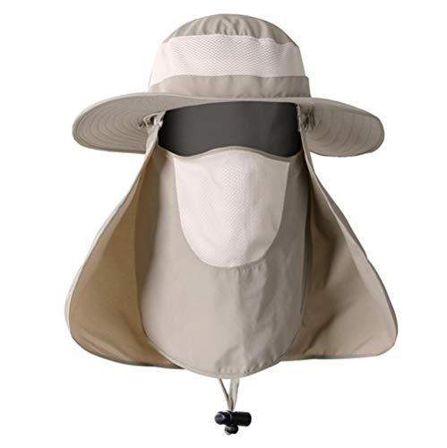 UPF 50+ Bonnet de style mixte en coton avec large bord, mentonnière, boutons-pression latéraux et aérations - - Medium