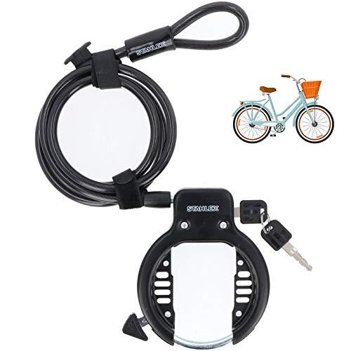 Fahrrad Rahmenschloss mit Kabel Fahrradschloss und 10 mm x 1,4 m Kabel fürs Damenrad Mountainbike E-Bike Klapprad Großartige Sicherheitsvorrichtung fürs Fahrrad