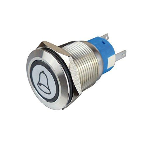 Blanko 207359 - Pulsador metálico con símbolo de timbre e iluminación de anillo, abridor, 1 cerradura, color blanco, 19 mm