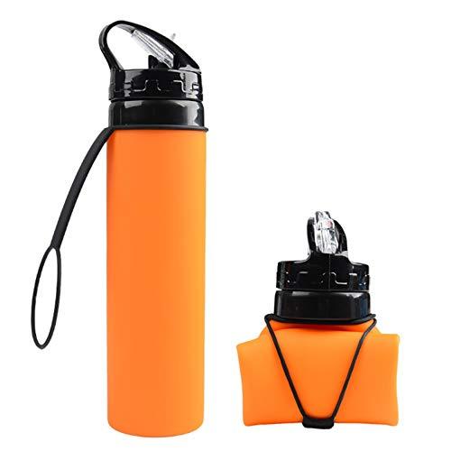 AP Outdoor Collapsible Water Bottle | Folding Travel Bottle with Straw | 20oz BPA Free (Orange)
