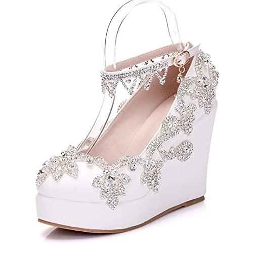 ZDERET Zapatos De Boda Mujeres Borlas De Diamantes De Imitación Pulseras Tacón...