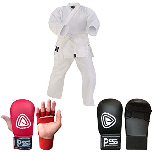 Prime Sports Shop - Traje de Karate para niños (100% algodón), Color Negro y Rojo, Color Guantes de Karate, Color Rojo, tamaño 00-120