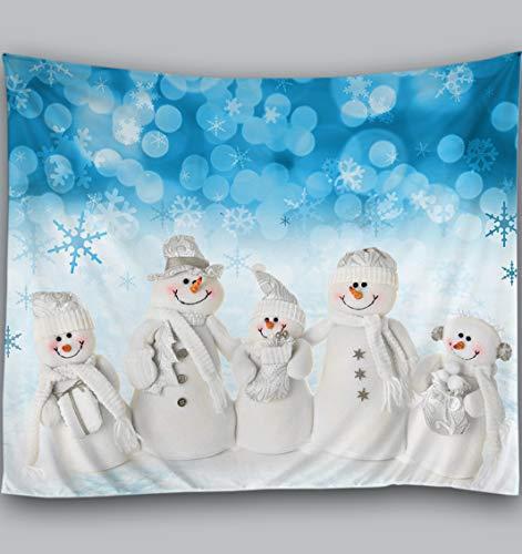 Amiiba Weihnachts-Wandteppich, niedlicher Schneemann-Familie, Wandbehang, blaue Schneeflocken, Heimdekoration für Schlafzimmer, Wohnzimmer (Schneemann, M – 149,9 x 129,5 cm)