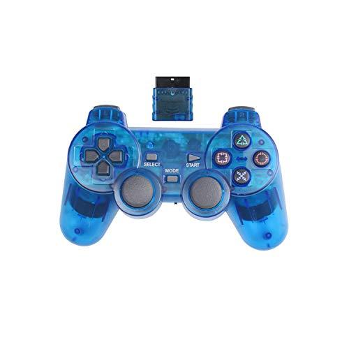 Contrôleur de jeu mobile |Manette de jeu sans fil 2.4G pour Sony PS2 Controller Double Vibration Shock Controle pour Playstation 2 Console Joystick-blue-