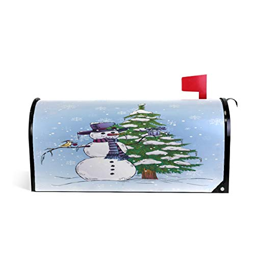 Arbre de Noël Bonhomme de neige Bird Bienvenue magnétique Boîte aux lettres Boîte aux lettres Coque stratifiées, Winter Holiday Flocons de neige Taille standard Makover Mailwrap Garden Home Decor 52.6x45.8cm multicolore