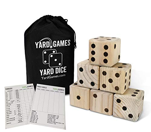 Giant 3.5' Wooden Yard Dice with Laminated Yardzee and Farkle Scoresheets and Durable Carrying Case