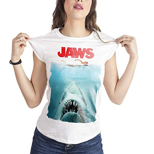 MUSH Eighteen Clothing Funny T-Shirt L Donna Jaws Lo SQUALO Poster