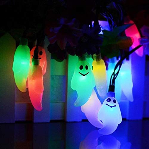 WSXQAZ Props Halloween Decorations, Led Ghost Light String Halloween Lights, Atmosphere Lights Halloween Decorations Outdoor Suitable for Halloween Garden Party Supplies (Color : Multicolor)