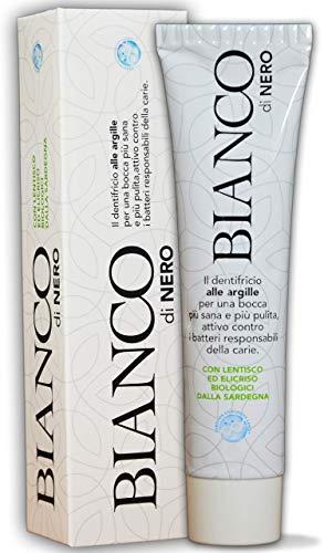BIANCO di Nero, Dentifricio Bianco Sbiancante con Argille, Olio di Elicriso, Lentisco e Salvia, BIOLOGICO ml.75 Made in Italy