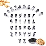 SITAKE Set di 37 Formine per Biscotti con Numeri e Lettere da con Custodia, Stampi Piccoli in Acciaio Inossidabile per Biscotti Fondenti, Torte, Frutta, Verdura, Pasta
