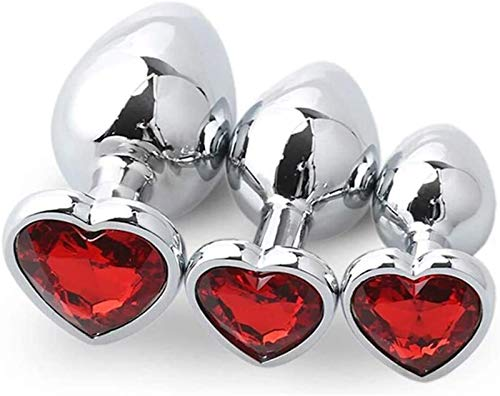 Dliso4 EIN □ l Hintern t □ y Anfänger Metall Buttplu?Set Heart-Shaped Kristallschmuck ANALES Pl'ûgs Zurück Stimulator Set for Frauen Paar Games (Pink) (Color : Red)