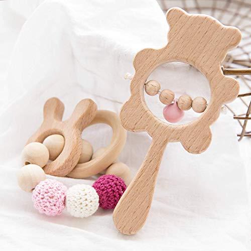 Promise Babe 2pc Pulsera de Cuentas de Ganchillo Animal de Haya Natural Baby Hand Bell Sonajero Juguete Sensorial