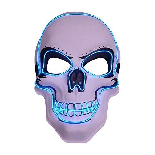 grau.zone leuchtende Halloween LED-Maske Slasher Totenkopf-Schädel Leuchtmaske Partymaske-Blau