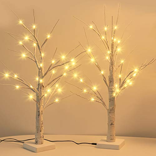 JACKYLED Upgraded 2FT 28 LED Lighted Birch Tree with Timer & USB Cable Battery Operated Warm White Birch Tree with...