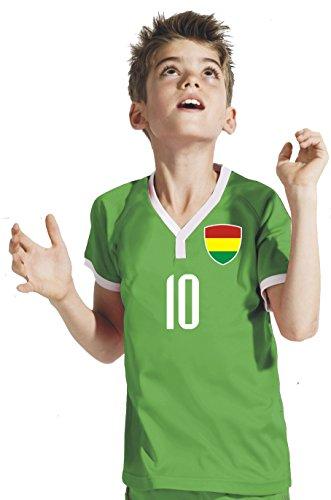 Aprom-Sports Bolivien Kinder Trikot - Hose Stutzen inkl. Druck Wunschname + Nr. GGG WM 2018 (140)