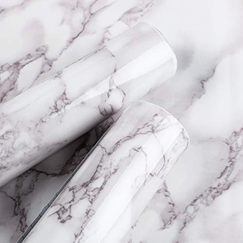 Xinstroe Marmorkontaktpapier 40 x 300 cm Klebepapier Wasserdichtes PVC-Material Vinyltapete Klebrige Kunststoff-Regalfolie Mehrzweckaufkleber