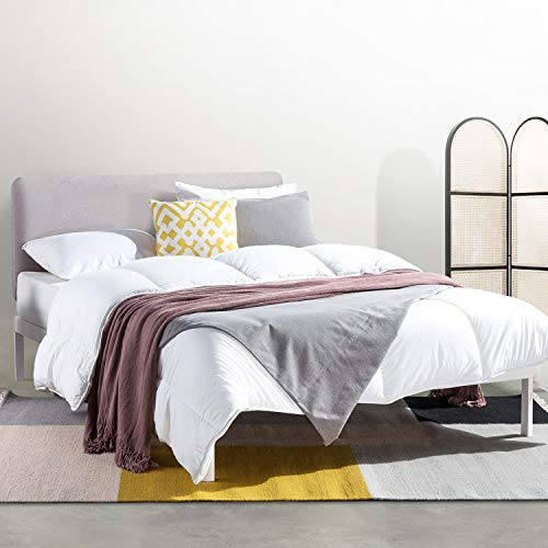 Mellow KERT - Metal Platform Bed with Fabric Headboard, Easy Assembly, Rounded Legs and Corners, Queen, Oak Grey (ML-FM-KE-OGQ)